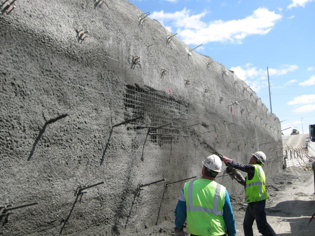 Hayes drilling inc i 435 i 70 soil nail soldier for Soil nail wall